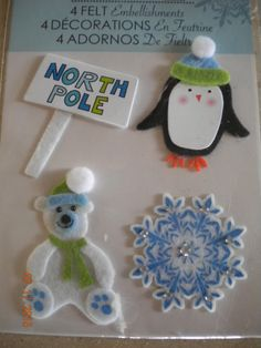 FELT Embellishments - 4 Wintery Items  North Pole Sign, Penguin, Snowflake and Polar Bear