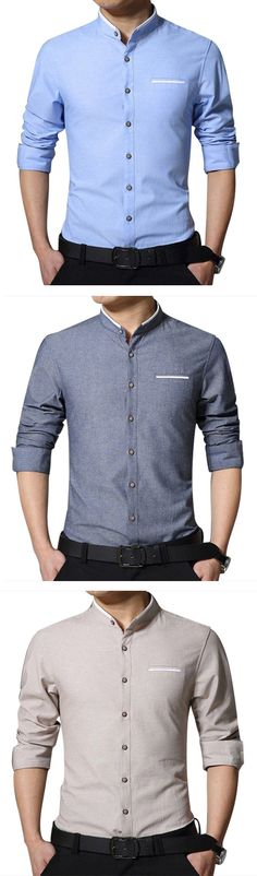 Men's Business Solid Color Stand Collar Cotton Casual Long Sleeve Pocket Dress Shirt is hot sale at NewChic, Buy best Men's Business Solid Color Stand Collar Cotton Casual Long Sleeve Pocket Dress Shirt here now! Corporate Attire, Business Casual Attire, New Mens Fashion, Urban Fashion, Look T Shirt, African Shirts, Classy Men, Mens Clothing Styles, Clothing Ideas