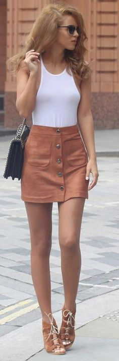3d69d55b91 Wear your button front suede skirt with matching shoes and a white top. Via  Nada Adelle Vine Tank  Kit And Ace