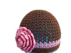 Girl hat, Crochet baby hat, Crochet hat with flower
