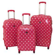 designer pink polka dot 3piece expandable lightweight hardside spinner luggage set