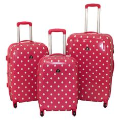 Designer Pink Polka Dot 3-Piece Expandable Lightweight Hardside Spinner Luggage Set | Overstock.com