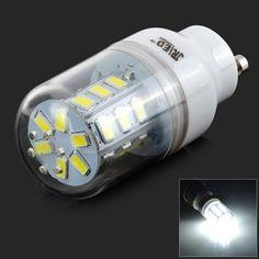 JRLED GU10 5W 300lm 6500K 24-5630 SMD White Light Bulb - White + Translucent (AC 220~240V)