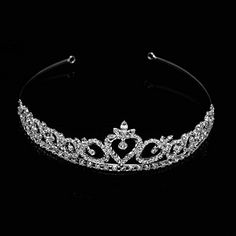 Wedding Bridal Tiara Headband Silver Swarovski Rhinestone Elements Heart Design *** More info could be found at the image url.