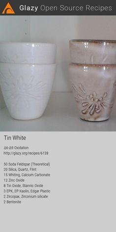 Glazy Ceramics Pottery Recipe: Glaze, White, Off-White, Cone Oxidation Ceramic Workshop, Ceramic Studio, Ceramic Clay, Glazes For Pottery, Ceramic Pottery, White Glaze Recipe, Ceramic Glaze Recipes, Recipe Tin, Ceramic Techniques