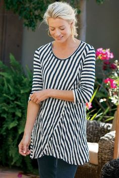 Fun & fresh stripes up the style of our Vignette Tunic. A nautical style with a fun silhouette.