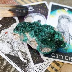 """<p>These crystal formations have tiny, sparkling Malachite crystals covering the surface of the matrix. The <strong><em>Malachite Druzy</em></strong> acts are a mirror of the soul, helping you to release any lingering negative emotions, trauma or experiences stuck within your heart space. Connected with the heart chakra, it's a wonderful crystal to keep on your office desk to alleviate festering frustration and unspoken anger that bog down your energy field.</p><br /> <p><em>Small: 2.5"""" to…"""