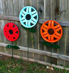 Hubcap Flowers, my dad would love this idea :)