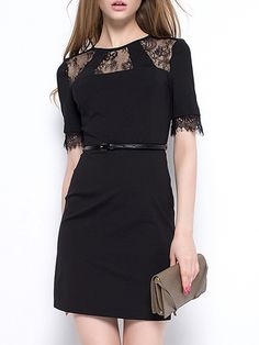 Classical Round Neck With Zips Lace Patchwork Bodycon-dress Bodycon Dresses from fashionmia.com