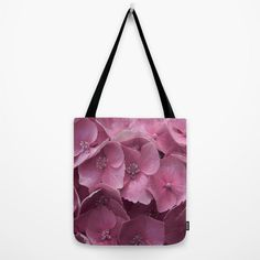 Art Print Tote Bag with Pink Hydrangeas Floral by AmandaJaneDalby