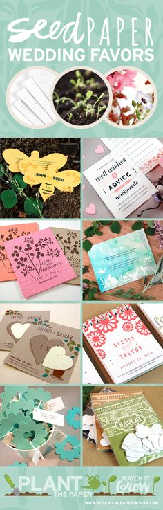 See dozen of stylish, #ecofriendly plantable wedding favor ideas from Botanical PaperWorks. Made with #seedpaper, these creative #weddingfavors give and wildflowers or even herbs!