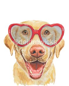 Title: Love Lab Feeling sad? This cute lab knows that being happy can be as simple as wearing a bright red pair of heart shaped glasses. ** This is a PRINT ** This is a print of my original dog watercolor painting of a Labrador retrieve wearing a pair of glasses SIZE: This print is 11x14 (27.5 cm x 35 cm) Printed using pigment ink on textured bright white cotton art paper. This print also comes in a 5x7 and 8x10. If youre interested in more fun animal nursery art please stop by my sh...