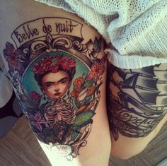 I've wanted a frida kahlo portrait thigh tattoo for soooo long and I love this one!