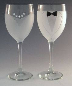The Bride and Groom Wine Glasses are crystal wine glasses etched with wedding formal wear. The Bride and Groom Wine Glass Set is sweet and romantic and makes a lovely way to toast the perfect wedding Bride And Groom Glasses, Wedding Wine Glasses, Crystal Wine Glasses, Bride Groom, Wine Craft, Wedding Gifts, Wedding Ideas, Wedding Stuff, Wedding Fun