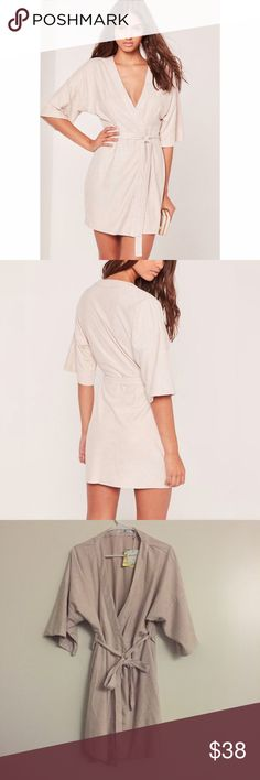 Missguided Nude Faux Suede Kimono Dress New with tag. US size 12, UK size 16 Nude faux suede mini dress. Missguided Dresses Mini