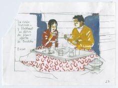 Bernard Cosey - Jonathan, Atsuko, Scène de repas - déchirure