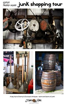 JUNK Shopping Tour - to Granny and Grumpa's Antiques - barns and BARNS of junk! via http://www.funkyjunkinteriors.net/