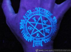 UV tattoo This is a cool design.  But, you'll have to get used to explaining it.  Pantagram symbolizes air, earth, fire, water AND spirit....the five sides. And that is Runic language around it.