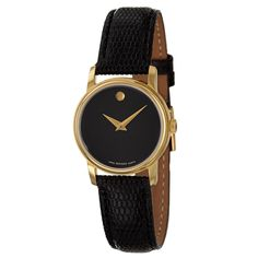 Understated elegance is yours when you sport this Movado women's watch. Featuring a black leather strap and matching black dial, this classic timepiece pairs with any work or formal ensemble. The Swiss quartz movement allows for accurate timekeeping.
