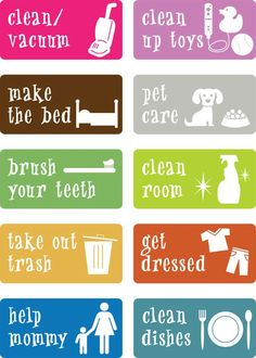 DIY Chore Charts - Printable Stickers or Cards to use as Kids Chore Charts and Incentives via Some Bomb Mom