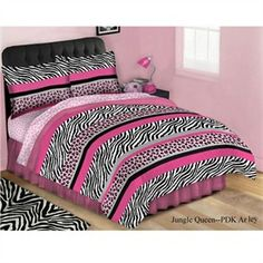 Jungle Pink, Black and White Striped Animal Print Bed in a Bag Comforter Set