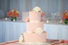 3 tiered peach polkadot wedding cake by 'Cakes by Lorinda'