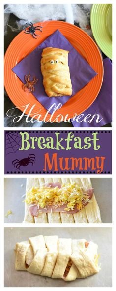 Fun Halloween Breakfast Idea: Mummy Sandwich - - Want a fun Halloween breakfast idea for the kids on the big day? This Mummy sandwich is super easy to make, looks so cute & is something the kids will love. Halloween Pizza, Halloween Donuts, Halloween Desserts, Halloween Breakfast, Healthy Halloween Snacks, Halloween Appetizers, Halloween Dinner, Breakfast For Kids, Best Breakfast