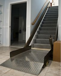 Inclined Platform Wheelchair Lifts - Butler Mobility Products. This is an interesting idea, but would not fit in most homes.  This would be for Hugh Hefner, Larry Flynt.