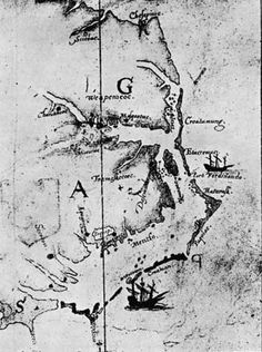 Map made by John White, 1585—86, showing the relationship of Roanoke Island, Dasamonquepeuc, Port Ferdinando, Croatoan, and Hatoraske.