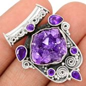Amethyst Druzy 925 Sterling Silver Pendant Jewelry AMDP824