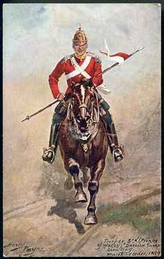 3rd DRAGOON GUARDS. Trooper, scouting. HARRY PAYNE art. Stewart & Woolf 1905 in Collectables, Postcards, Military | eBay