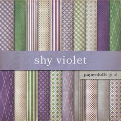 Purple Digital Paper  Violet Lavender Cottage by paperdolldigital