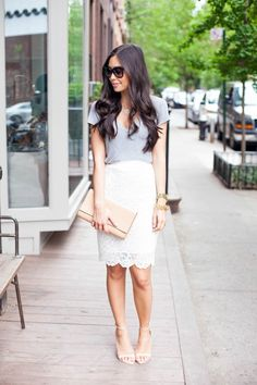 white lace mini skirt, gray tee