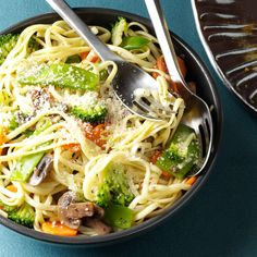 Broccoli Veggie Pasta Primavera Recipe -Chock-full of veggies, this simple, colorful pasta makes a filling dinner. In smaller servings, it works equally well as a side dish. —Stephanie Marchese, Whitefish Bay, Wisconsin