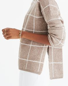 madewell windowpane turtleneck sweater