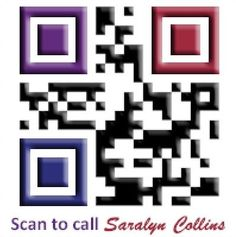 "QR Code for ""Magnetic Business Builder,"" Saralyn Collins, that features her logo's 3 main colors."
