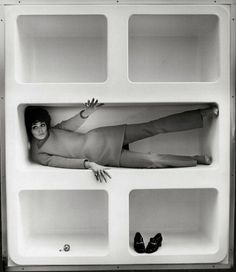 Katarina Sarnitz (Noever) in a shelf at the fashion boutique CM, whose entrance and interior was designed by the architect Hans Hollein. Austria, 1965