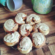 Homemade cinnamon and coffee buns
