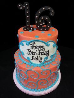 Cookie Jar Bakeshop I Custom Cakes I Birthday Cake I Teen Birthday Cake I Orange & Blue Birthday Cake