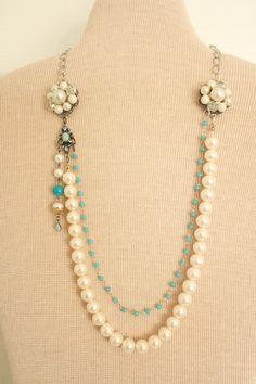 Vintage Jewelry Repurposed Pearl Wedding Necklace Vintage Repurposed by nightowlcreates - Vintage Jewelry Crafts, Old Jewelry, Jewelry Art, Beaded Jewelry, Handmade Jewelry, Jewelry Ideas, Jewlery, Crystal Jewelry, Jewelry Accessories