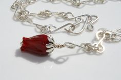 Mother's Day, Wedding, Valentine's Day Sterling Silver Chain Necklace with Red Glass Flower Pendant