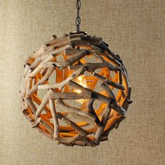 Driftwood Ball Pendant Light