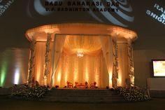 Babu Banarasi Badminton Stadium stage at Lucknow, all set up for Rahul and Snigdha's Wedding Reception