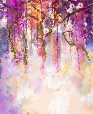 Watercolor painting.Spring purple flowers Wisteria illustration