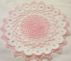 crocheted doily pink and white wedding centerpieces by Aeshagirl