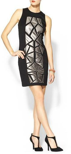 Tinley Road Vegan Leather Mosaic Dress- love the detailing