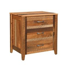 Reclaimed Barnwood Shefford 3-Drawer Nightstand Gorgeous barnwood colors brighten the Shefford. Rustic style storage available in a variety of finish options. Made with eco friendly barnwood that's salvaged from old barns and put to good use. #rusticbedroomfurniture #nightstands #woodnightstands