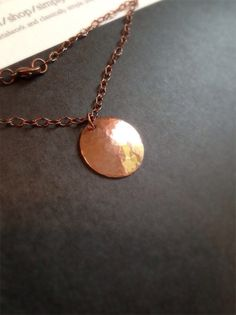 Hammered Copper Disc Necklace Hammered Copper Circle Antique