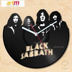 Relogio em disco de vinil Black Sabbath