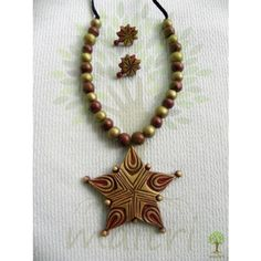 Terracotta Jewellery_The Star Red - Online Shopping for Necklaces by Maitri Crafts